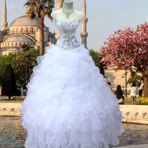 Strapless Sweetheart Crystals Ball Gown Corset S